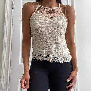 Cream crotchet tank